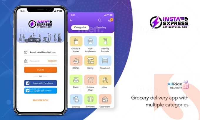 I will design and develop grocery delivery app like instacart, grofers